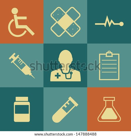 Medical Icons on retro Background.Vector EPS 10
