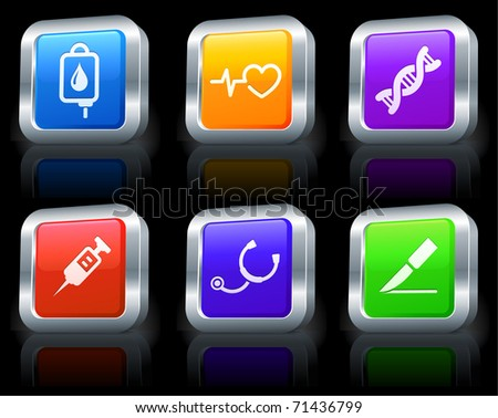 Medical Icons on Square Button Collection with Metallic Rim Original Illustration - stock vector