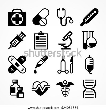 Shutterstock Medical icons on white background. Medicine symbols in grey. Vector illustration