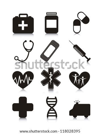 medical icons over white background. vector  illustration