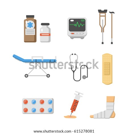 medical icons set care