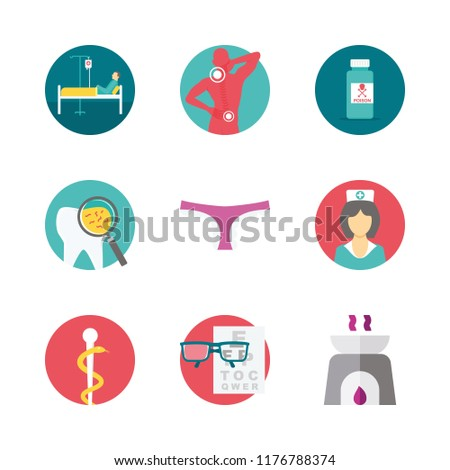 medical icons set. drugstore, exam, lens and practitioner graphic works