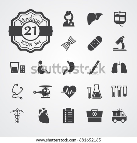 Medical icons set flat style vector isolated on grey background