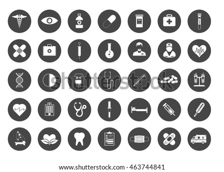 Medical icons set, healthcare equipment, science research and health treatment service. Icons and symbol collection.