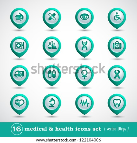 Medical icons set, internet buttons, vector