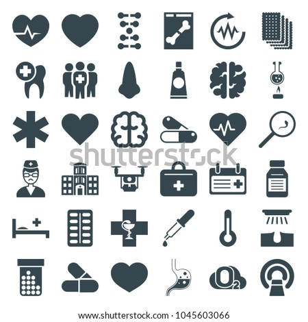 Medical icons. set of 36 editable filled medical icons such as nose, hair removal, brain, heartbeat, mri, dna, doctor, medicine, first aid kit, hospital building, temperature