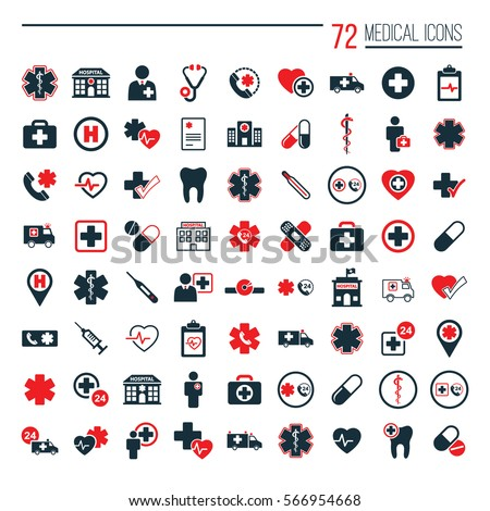 medical icons set on white background