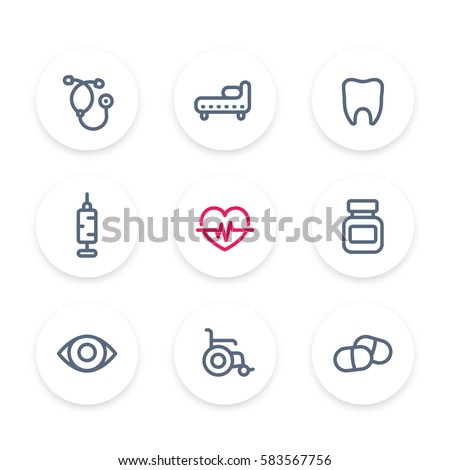 medical icons set, stethoscope, medicine, syringe, vaccination, health care, hospital, ophthalmology, pills, drugs line pictograms
