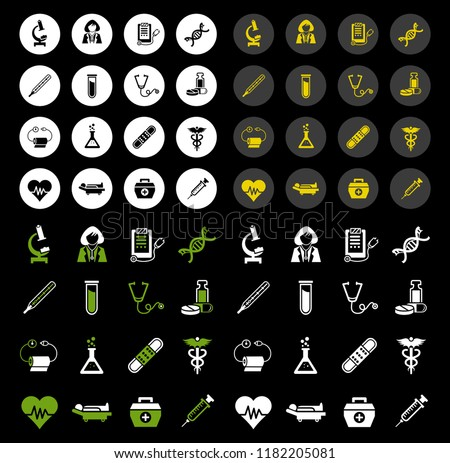 Medical Icons - Set vector icons, sign and symbols in flat design medicine and health with elements for mobile concepts and web apps. Collection modern infographic logo and pictogram
