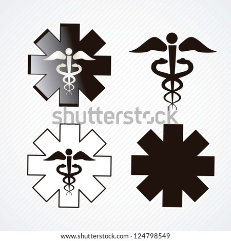 Medical icons silhouette on grey background.vector illustration