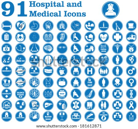 Medical icons used in hospital and signs like doctor, patient, ambulance, medicines, surgery and other signs inside and outside the hospital building  etc.