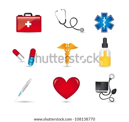 medical icons with shadow over white bacgkround. vector illustration