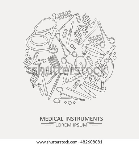 Medical illustration with medical instruments, poster design or backdrop. Set of medical tools, background vector. Health care logotype. Flat thin line icon, modern style