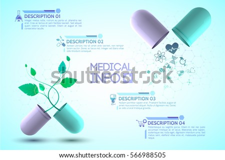 Medical info poster with medication and treatment symbols realistic vector illustration