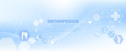 Medical infographic orthopedic anatomy. Abstract background with spine, pelvis, knee, foot, shoulder, elbow, hand, humerus bones and joints. Orthopedics medical.Blue and white. Vector illustration