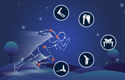 Medical infographic orthopedic. Human silhouette in running motion injury of elbow, shoulder, pelvis, knee and foot. Radiology orthopedic, hospital, joint, sport, diagnostics. Vector illustration