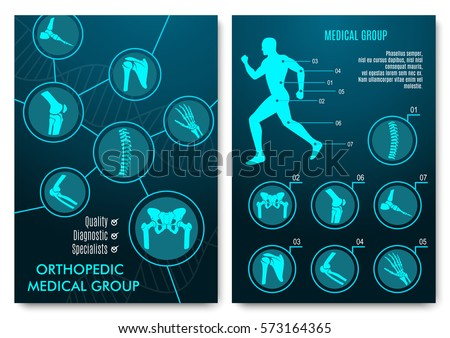 Medical infographic with orthopedic anatomy charts. Human silhouette in motion with marked spine, pelvis, knee, foot, shoulder, elbow, hand bones and joints. Orthopedics medical group design