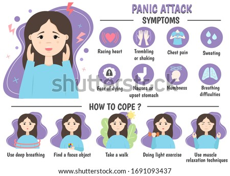 Medical infographics a panic attack. Symptoms, prevention. Panic disorder concept. Vector illustration. Foto stock ©