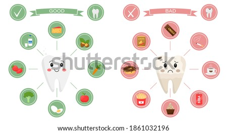 Medical infographics. Products that are useful and harmful to dental health. Teeth-characters, sad, broken and healthy, smiling are surrounded by round icons. Cartoon-style illustration on white. Stock photo ©