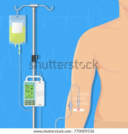 Medical Infusion Pump IV Intravenous Therapy Treatment Chemotherapy Patient Infuse Medication Nutrient Clinical Hospital Controlled Equipment Electronic Device Technology ストックフォト ©