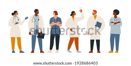 Medical insurance best doctors modern flat vector concept digital illustration medical specialists doctors and nurses portraits, team of doctors concept, medical office or laboratory