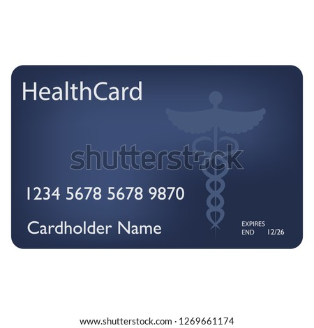 Medical insurance card. Medical service concept. Blank Health Care Medical Insurance Card Isolated On White Background