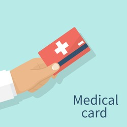 Medical insurance cards holding in hand doctor.  Isolated on background. Vector illustration flat design. Medical service concept