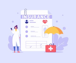 Medical insurance. Concept of health insurance and life insurance. Protection of health and life of people with document of insurance. Healthcare and medical service. Vector illustration in flat