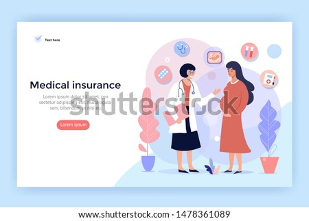 Medical Insurance For Pregnancy, concept illustration, web page design template, vector banner