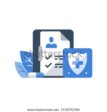 Medical insurance, health care policy, shield with cross, hospital services, preventive check up, sick leave certificate, volunteer enrollment program, vector flat icon