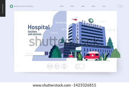 Medical insurance - hospital facilities and services - modern flat vector concept digital illustration - a hospital building with an ambulance car and a helicopter above, medical office or laboratory