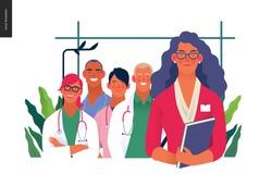 Medical insurance illustration -hospital administrator -modern flat vector concept digital illustration - a female hospital administrator with a team of doctors concept, medical office or laboratory