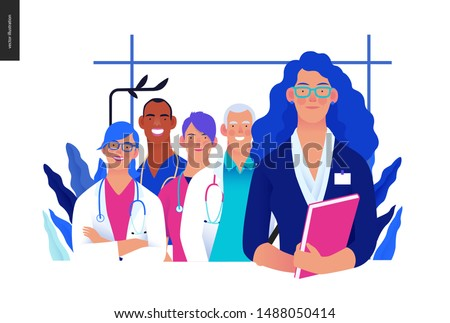 Medical insurance illustration -hospital administrator -modern flat vector concept digital illustration - a female hospital administrator with a team of doctors concept, medical office or laboratory