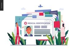 Medical insurance illustration- medical id card, health card -modern flat vector concept digital illustration - a plastic identification card as medical records file metaphor