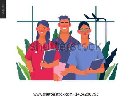 Medical insurance -internship jobs -modern flat vector concept digital illustration - young medical specialists standing together, team of interns concept, medical office or laboratory