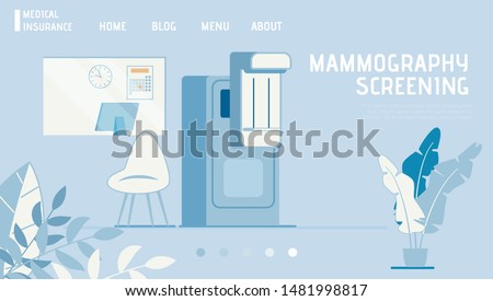 Medical Insurance Landing Page Offers Mammogram. Mammography Screening Test on Modern Equipment. Breast Diagnosis. Cancer Prevention. Affordable Medicine. Vector Flat Cartoon Illustration