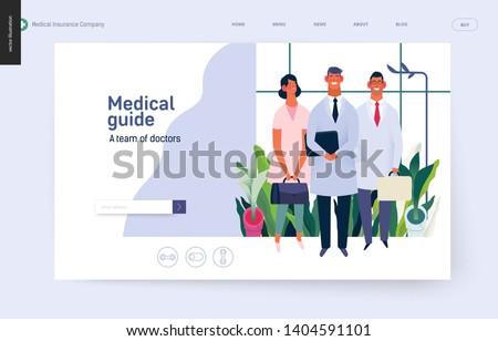 Medical insurance -medical guide -modern flat vector concept digital illustration - medical specialists standing together, team of doctors concept, medical office or laboratory