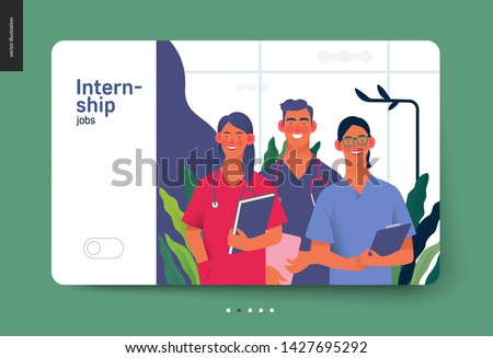 Medical insurance -medical internship jobs -modern flat vector concept digital illustration - young medical specialists standing together, team of interns concept, medical office or laboratory