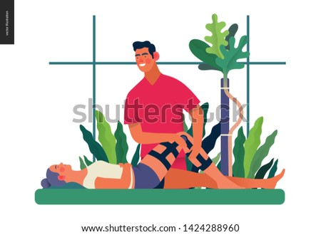 Medical insurance - orthopedic and traumathology -modern flat vector concept digital illustration - an orthopaedist attaching the orthosis to a lying female patient, medical office or laboratory ストックフォト ©