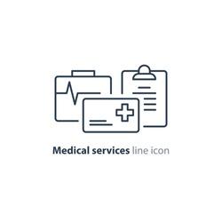 Medical insurance policy concept logo, medicine card, check up clip board, suite of services, vector line icon