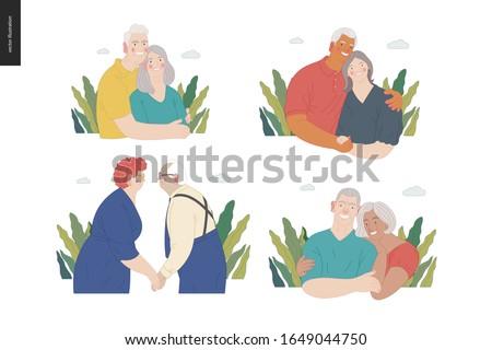 Medical insurance -senior citizen health plan -modern flat vector concept digital illustration of a happy elderly couple, standing embraced together holding their hands. Medical insurance plan.