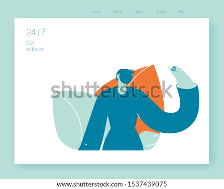 Medical insurance -specialists visit. Home medical service. Vector illustration flat design. Use in Web Project and Applications.