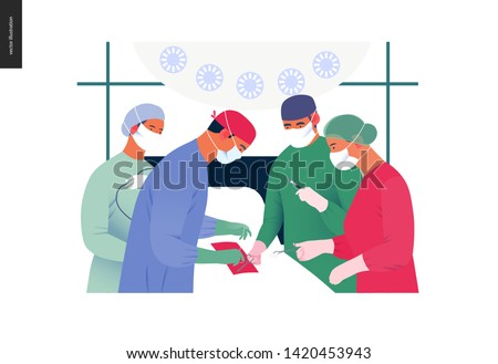 Medical insurance - surgery and surgical procedures -modern flat vector concept digital illustration - surgeons and operation nurses on surgical operation in operating room, team of doctors concept