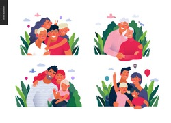 Medical insurance template -happy family - modern flat vector concept digital illustrations of families, parents with children and elderly couple, embracing together outside, medical insurance concept