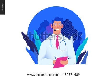 Medical insurance template -help 24 per 7, call us -modern flat vector concept digital illustration of male doctor with headset talking on the phone for a medical consultation. Medical company service