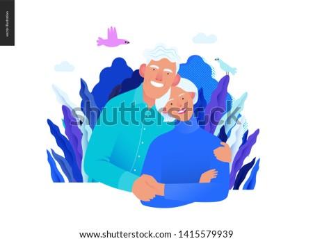 Medical insurance template -senior citizen health plan -modern flat vector concept digital illustration of a happy elderly couple, medical insurance plan