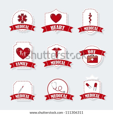 medical labels over gray background. vector illustration