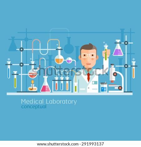 Medical Laboratory Conceptual. Vector Illustration.