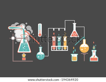 Medical laboratory infographics depicting a chemical solution boiling over a bunsen burner distilling into a flask linked to glassware and biochemical tests and research  colorful vector illustration