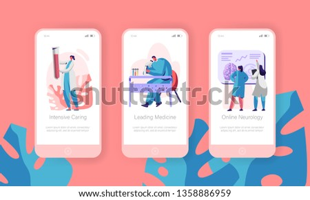 Medical Laboratory Mobile App Page Onboard Screen Set. Intensive Caring, Leading Medicine, Online Neurology. Clinical Pathology Test Website or Web Page. Flat Cartoon Vector Illustration